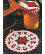 Rose Jar Topper & Potholder Thread Crochet Pattern - $3.49