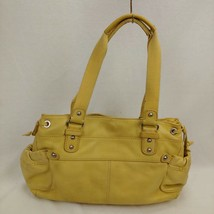 Fossil Yellow Pebble Leather Satchel Hobo Handbag Magnetic closure - $38.60