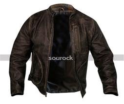 Rampage Movie Jacket Davis Okoye Distressed Brown Dwayne Johnson Leather Jacket image 1