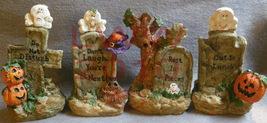 Set of Four Resin Halloween Tombstones with Pumpkins - $15.50