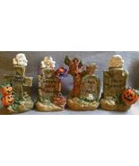 Set of Four Resin Halloween Tombstones with Pumpkins - $15.50
