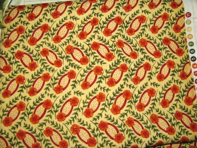 FabriQuilt Villa Capris # 9673 Burnt Orange Flowers Cotton Fabric