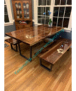 Solid walnut live edge kitchen table/conference, slab table epoxy finish - $4,000.00