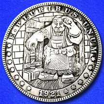 "Blacksmith ""Hobo Nickel"" on Morgan Dollar Coin ** - $4.79"