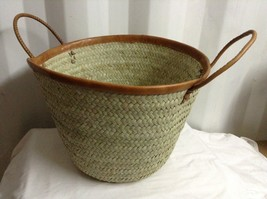 Picnic/ shopping bag collasible basket made of palm leaves with leather ... - €57,94 EUR