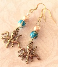 Bronze Octopus Charm, Turquoise Blue Sea Sediment Jasper, Gold Pearl and... - $8.35