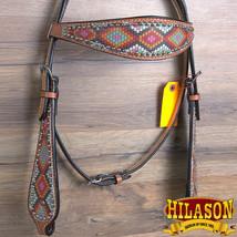 Western Horse Headstall Tack Bridle American Leather Geometric Pattern U-O-HS - $63.95