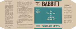 Sinclair Lewis BABBIT facsimile dust jacket for first edition and early ... - $21.56