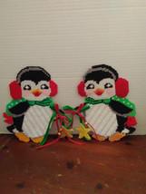 handmade plastic canvas christmas holiday winter cute penguin wall door ... - $20.00