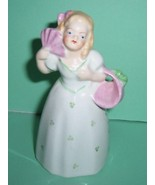 German Young Lady With Fan & Basket Bell /Green #60081 - $14.00