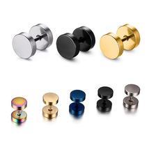 Alisouy Wholesale Fashion Black Silver Stainless Steel Earrings Women Me... - $6.10+