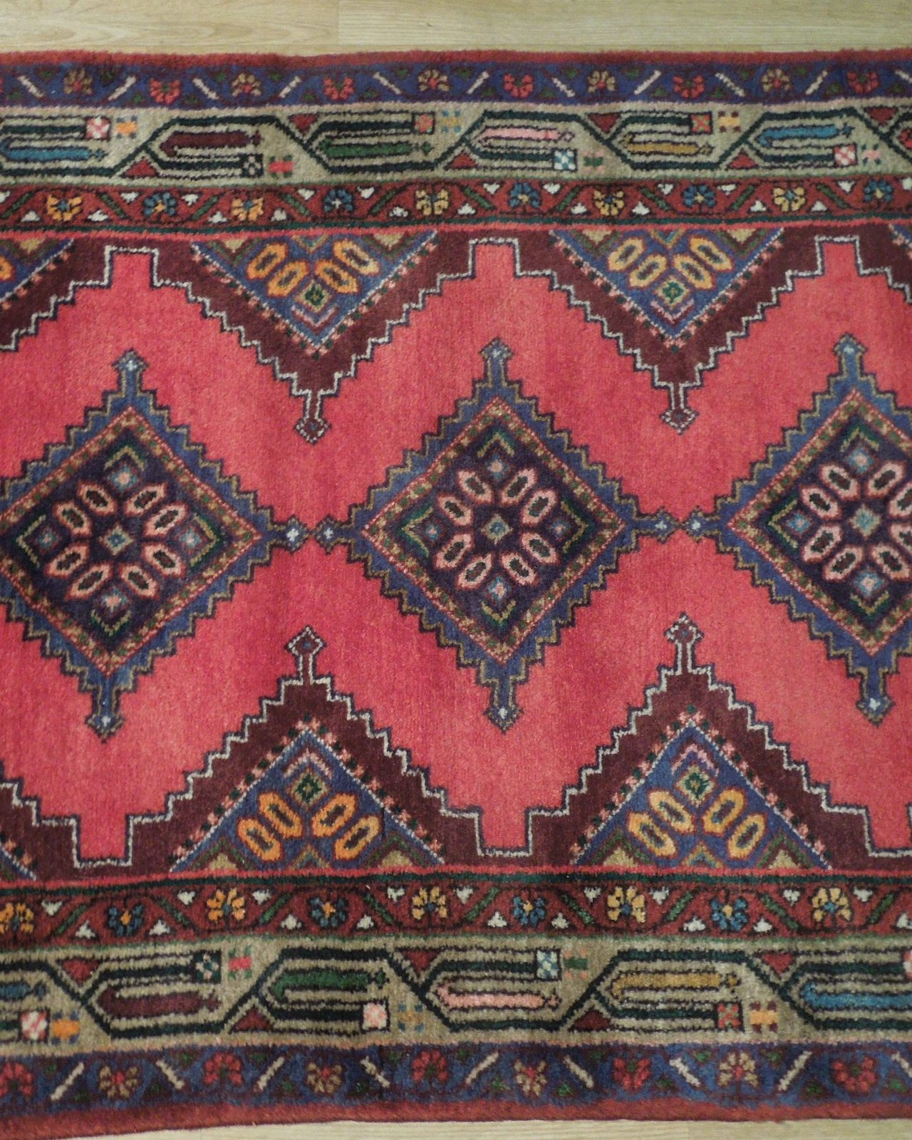 Pink Hamadan Persian Wool Handmade Rug 3x9 All-Over Geometric Rug image 11