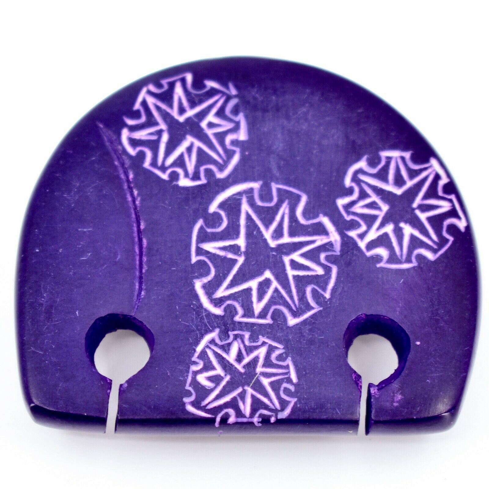 Hand Carved Soapstone Purple Simple Floral Elephant Fridge Magnet Made Kenya