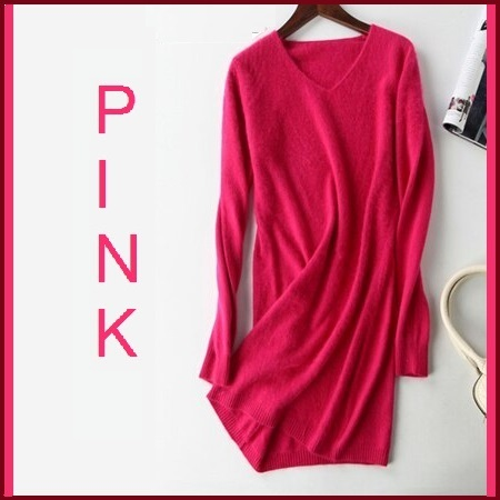 Primary image for Ladies Soft Mink Cashmere Long Sleeve Pink V-Neck Mini Sweater Shirt Dress