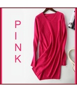 Ladies Soft Mink Cashmere Long Sleeve Pink V-Neck Mini Sweater Shirt Dress - $108.95