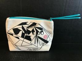 Shiseido Ginza Tokyo Cosmetic Make Up Tan & Turquoise Canvas Bag - $12.19