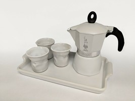Bialetti Dama 3 Cup Gift Set with Tray - White - $74.24