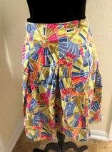 Talbots size 4 skirt plated colorful geometric flare rainbow - $10.64
