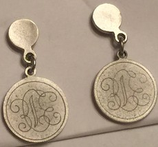VTG 80s Silver Medallion Stud Pierced Earrings Small Dangling Monogramme... - $16.98