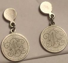 VTG 80s Silver Medallion Stud Pierced Earrings Small Dangling Monogramme... - $6.10