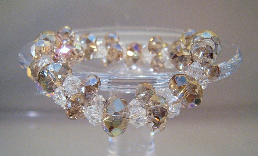 Bracelet Stretchy Clear and Amber Crystals