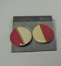 Trifari Red & Cream Enamel Earrings - $4.95