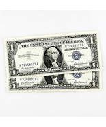 1957 SILVER CERTIFICATE 2 CONSECUTIVE NOTES N72458017A-N72458018A - $29.77
