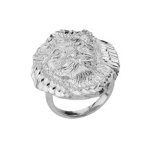 Sterling Silver Lion Head Statement Ring - £53.23 GBP