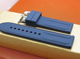 24mm Rubber dive quality stylish watch band stitched smooth fits Panerai & other - $21.60