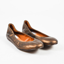 Lanvin NIB Bronze Leather Embossed Ballerina Flats SZ 36 - $360.00