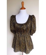 H & M ~ SMALL 6 BLACK YELLOW PRINT SATIN PUFF SLEEVE CINCHED EMPIRE BLOU... - $12.00