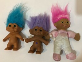Vintage Troll Dolls 3 Piece Lot Purple Teal Blue Hair Pink Soft Body  - $10.65