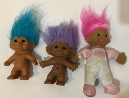 Vintage Troll Dolls 3 Piece Lot Purple Teal Blue Hair Pink Soft Body  - $10.65