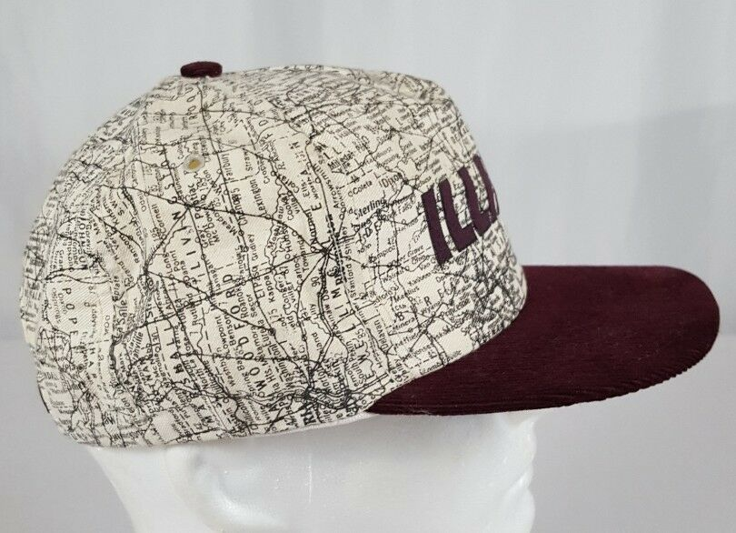 Vtg Illinois Map Snapback Hat Cap Corduroy Bill IL Roadmap Burgundy Made in USA image 4