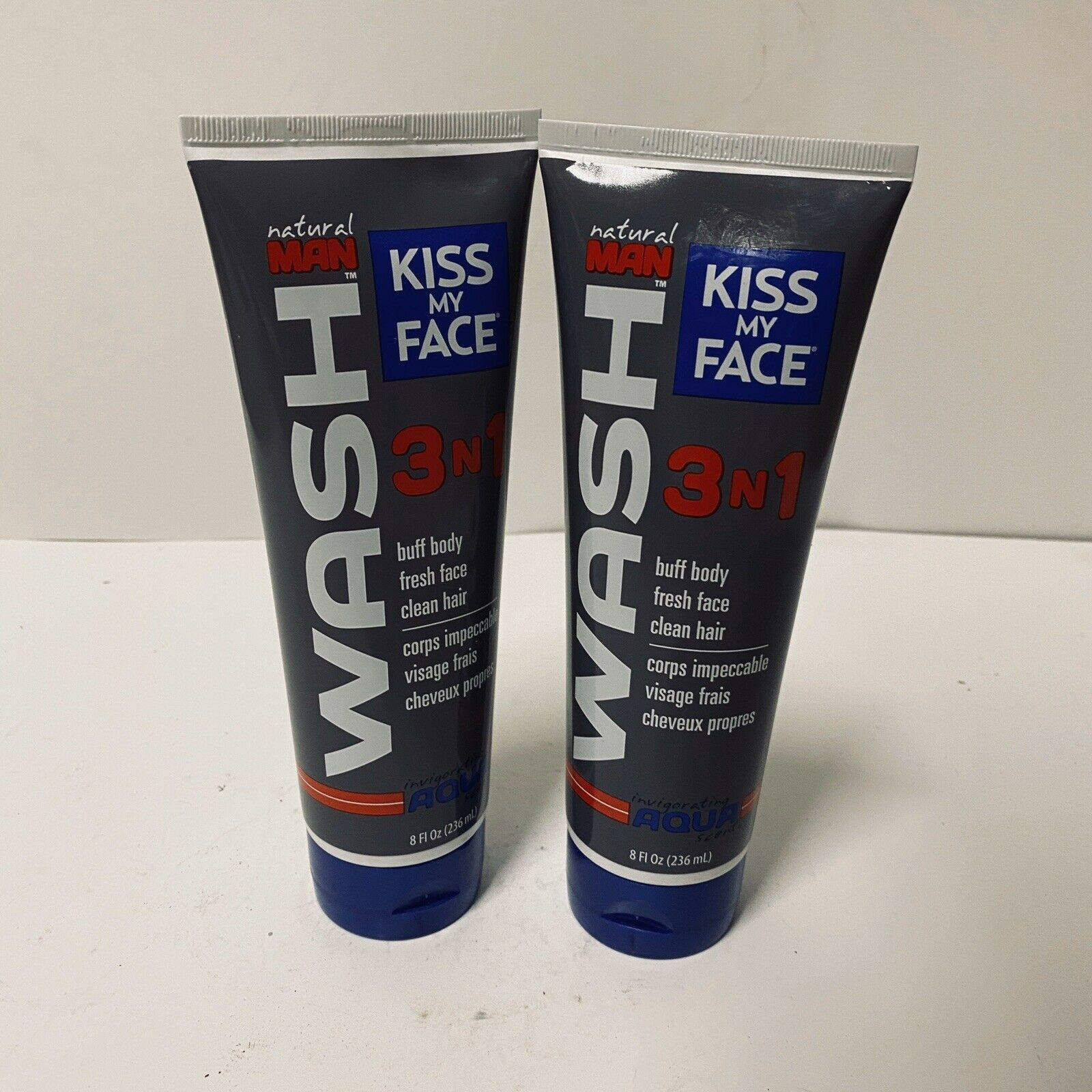 2x Kiss My Face Natural Man 3 in 1 Body Wash 8oz Aqua Scent Discontinued - $34.99