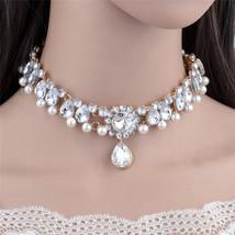 Modyle Boho Collar Choker Water Drop Crystal Beads Choker Necklace &pendant Vint - $11.73