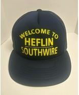 VTG Old Navy Blue Polyester Mesh Snapback Trucker Hat Southwire Co. Hefl... - $19.59