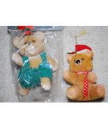 "Fuzzy Teddy Bears Christmas Ornaments Decorations Merry Bears LOT 5"" Vin... - $8.86"