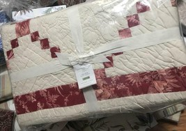 Pottery Barn Andover Quilt Set Ivory Red Queen 2 Standard Shams Patchwork 3pc - $242.93