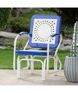 Retro Vintage Style Blue White Metal Patio Glider Chair Outdoor Furniture  - $147.47