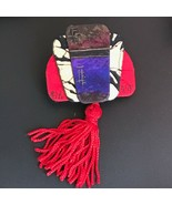 Hand Made Artist Signed Large Asian Layered Fabric w Red Tassel Pin Broo... - $16.69