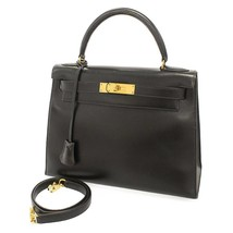HERMES Kelly 28 Sellier Veau Box Noir 2Way Handbag #U  5454976 - $7,748.05