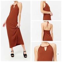 Orange Maxi Dress Medium Stretch Halter Sleeveless Elastic Back Side Sli... - $9.80