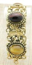 Brown Tiger's Eye Stone Gold Tone Repousse Flower Floral Bracelet Vintage - $29.69