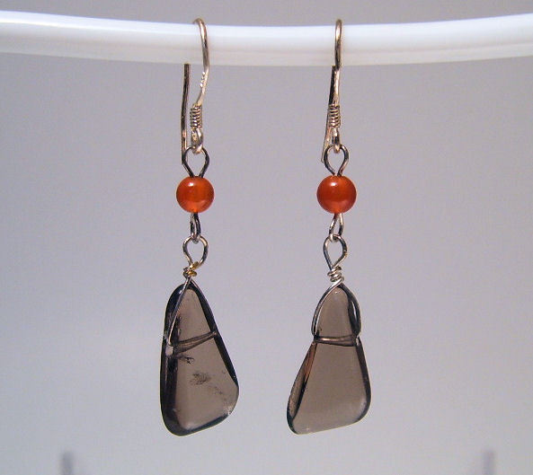 Earrings sterling smokey quartz carnelian