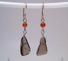Earrings sterling smokey quartz carnelian thumb200