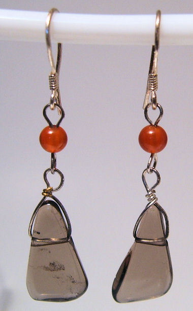 Earrings Sterling Silver Carnelian and Smokey Quartz Dangle