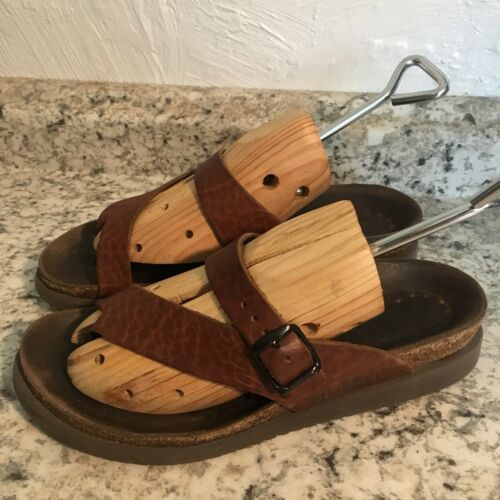 MEPHISTO Sandals BROWN LEATHER TOE CORK Womens 39/8US