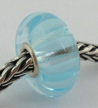 Authentic Trollbeads Light Blue Stripe (13mm) Bead Charm 61365 New - $24.93