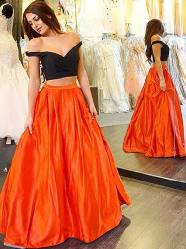 two pieces prom Dress,off shoulder Prom Dress,prom dress,2018 prom dresses